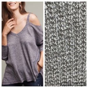 Anthro Deletta henley knit cold shoulder sweater L